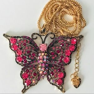NEW! LARGE CRYSTAL BUTTERFLY SWEATER NECKLACE